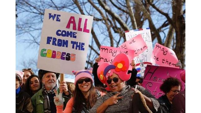 Trump says women marching for 'economic success'