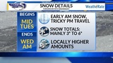 Accumulating Snow Arrives Tuesday
